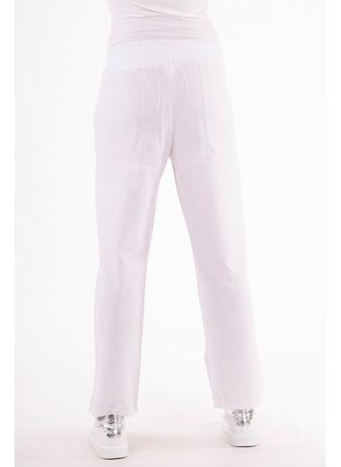 Stamina  Bayan Beli Lastikli Cepli Pantolon-5PN04 Beyaz